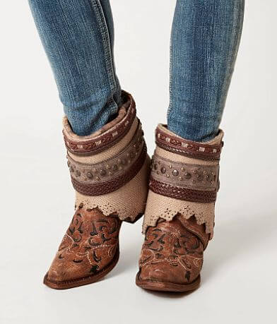 Corral Cognac Flipped Leather Western Ankle Boot