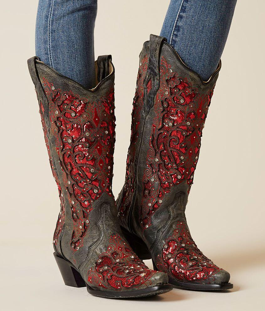 Corral Rhinestone Leather Western Boot - Women s Shoes in LD Grey ... b9d8cdc4c4d9