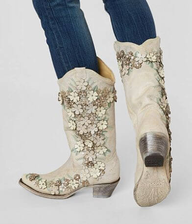 Corral Floral Applique Leather Western Boot