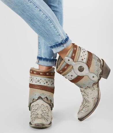 Corral Flipped Leather Western Ankle Boot