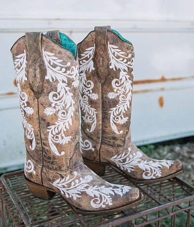 Corral Floral Embroidered Leather Western Boot
