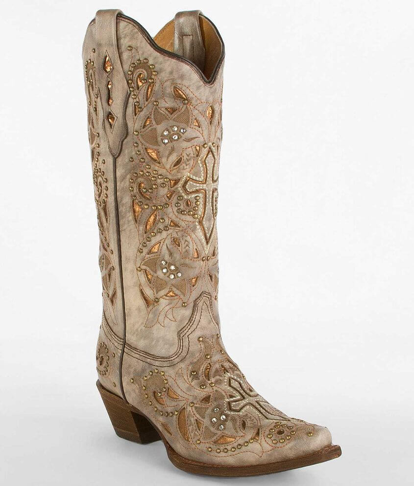 56b596833a1 Corral Cut-Out Cowboy Boot - Women's Shoes in Sand Plato Broce Inlay ...