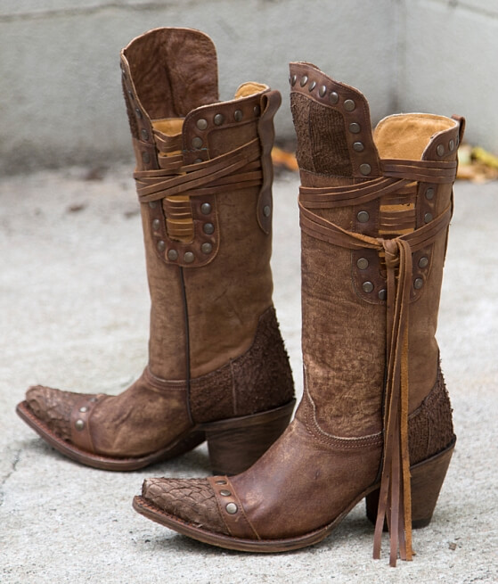Corral Brown Fish Riding Boot - Women's Shoes in LD Brown | Buckle