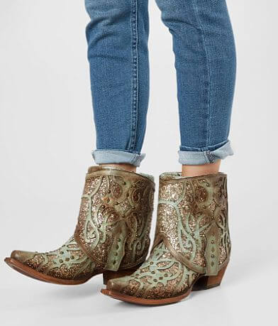 Corral Flipped Glitter Leather Western Ankle Boot