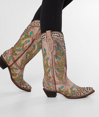 Corral Studded Cactus Leather Western Boot
