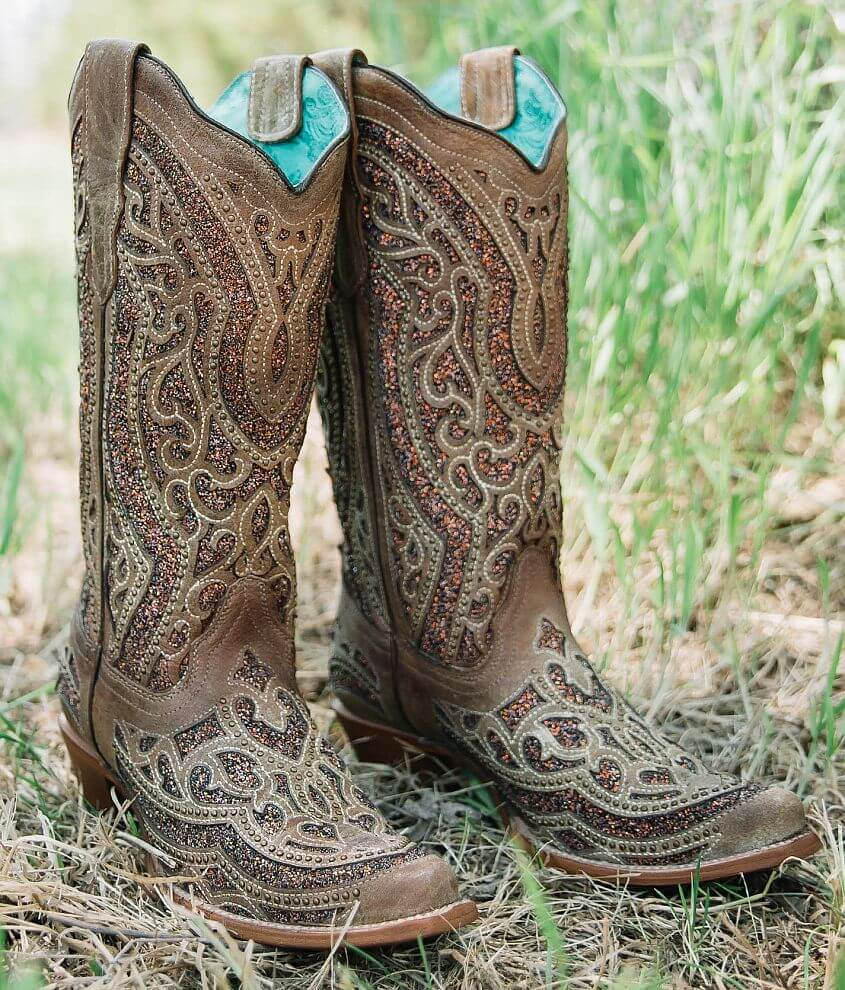 Corral Golden Glitter Leather Western Boot front view