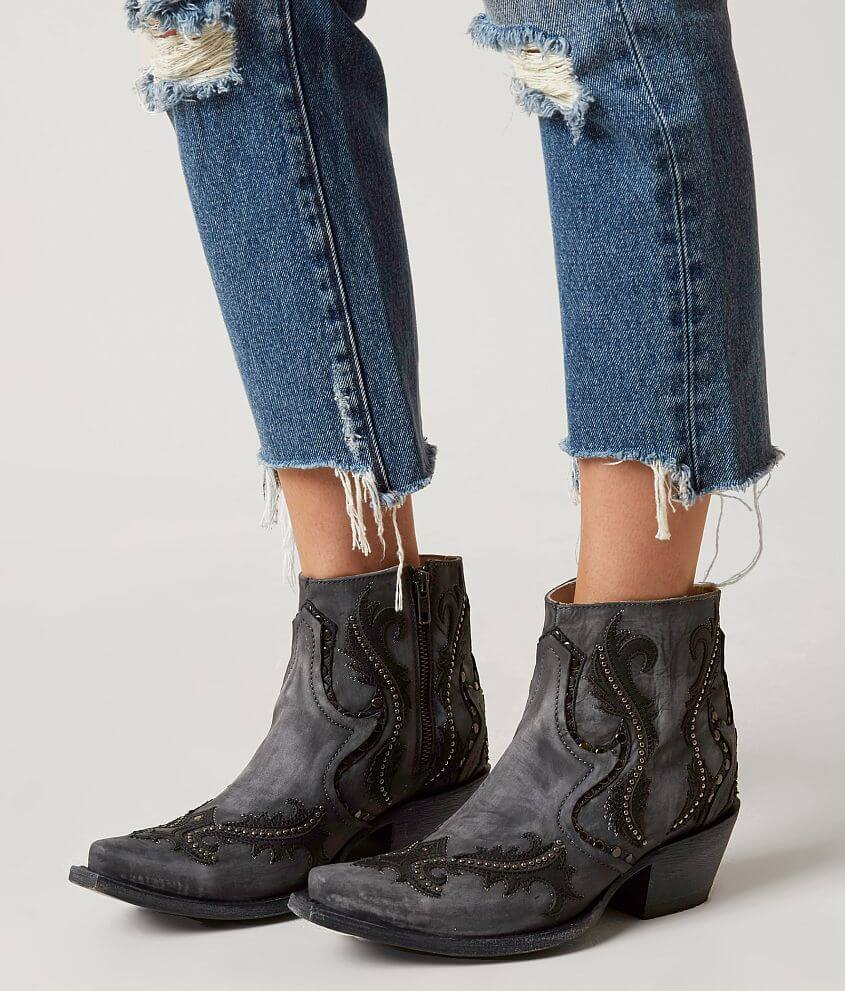 Studded Leather Western Ankle Boot