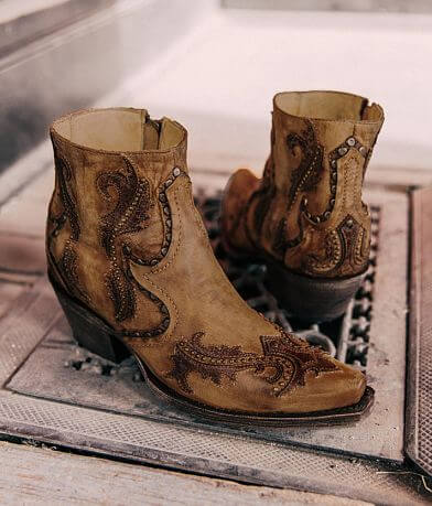 Corral Studded Leather Western Ankle Boot