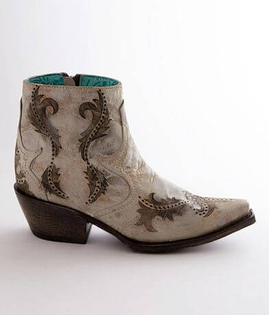 Corral Embroidered Leather Western Ankle Boot