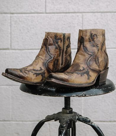 Corral Laser Cut Leather Western Ankle Boot