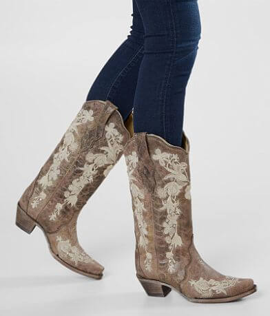 Corral Floral Leather Western Boot