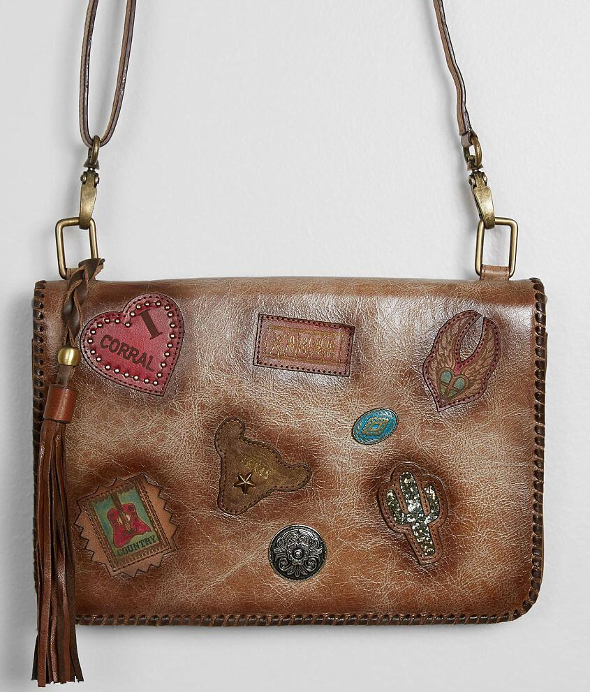 Corral Leather Crossbody Purse front view
