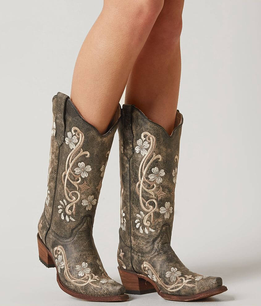 Corral Embroidered Cowboy Boot Women's Shoes in LD Black