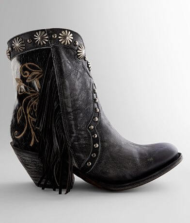 Corral Fringe Studded Leather Western Ankle Boot