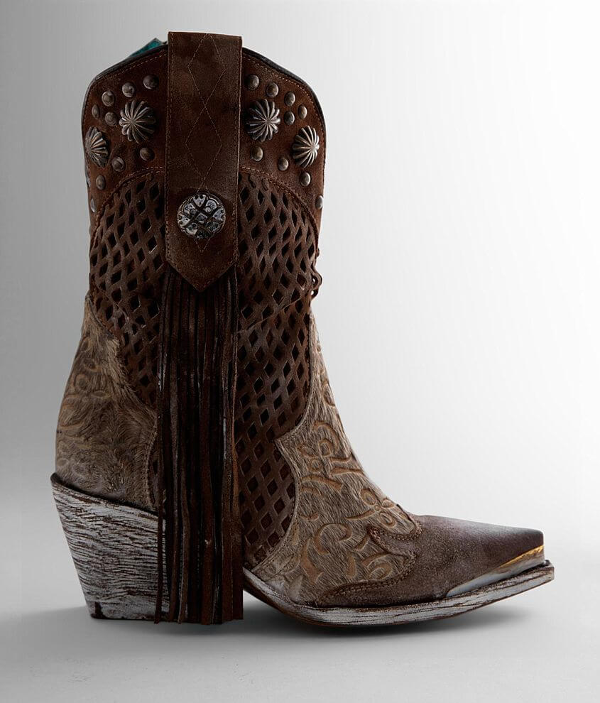 Corral Fringe Shedron Cut-Out Western Leather Boot front view