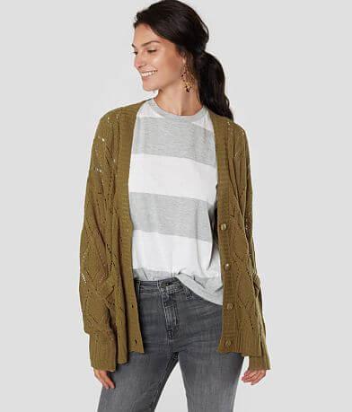 Daytrip Open Stitch Argyle Cardigan Sweater