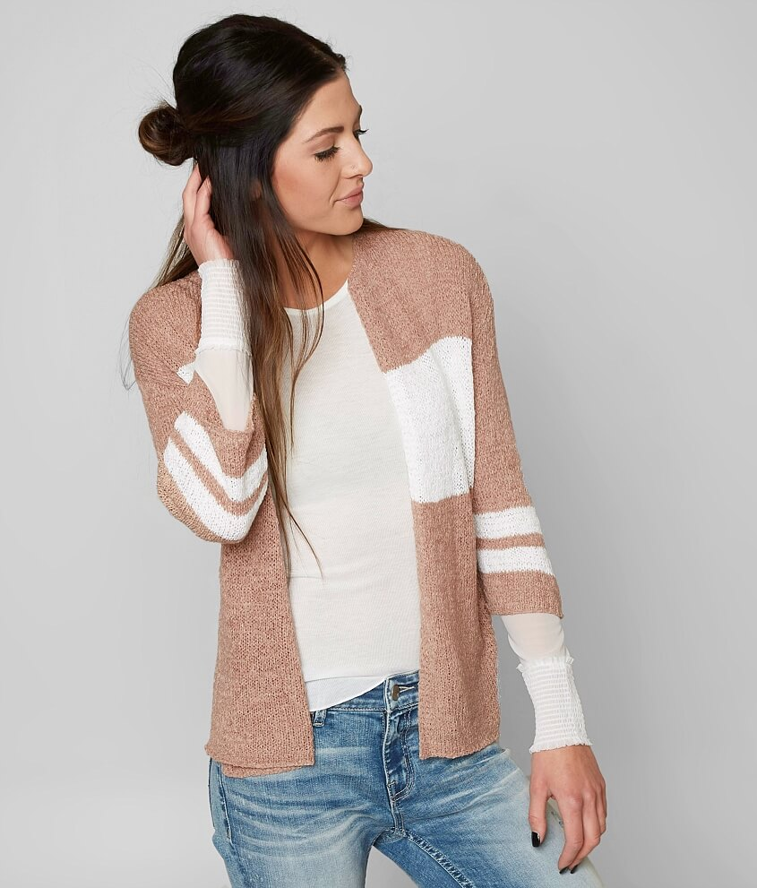 Daytrip Striped Cardigan Sweater - Women's Sweaters in Taupe White ...