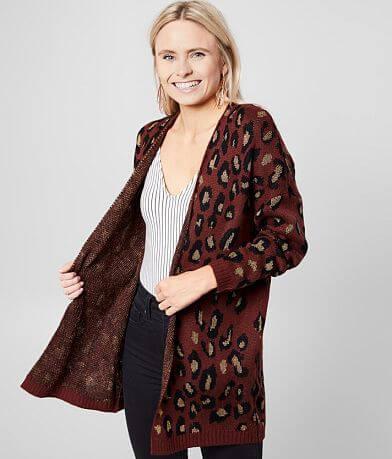 Daytrip Metallic Cheetah Cardigan Sweater