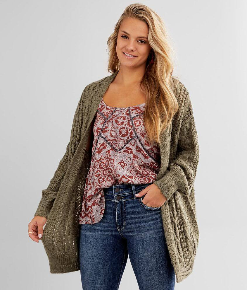 Daytrip Cable Knit Cardigan Sweater front view