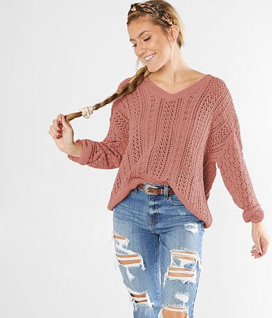 red by BKE Pointelle Pullover Sweater