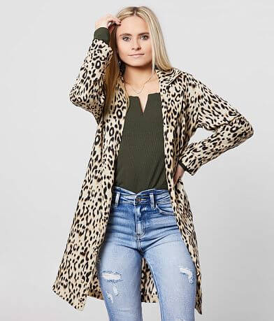 Daytrip Animal Print Chiffon Midi Cardigan