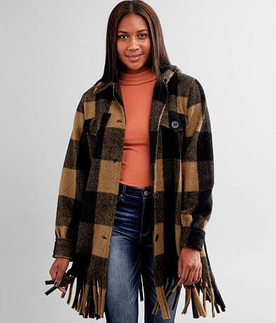 BKE Checkered Plaid Fringe Shacket