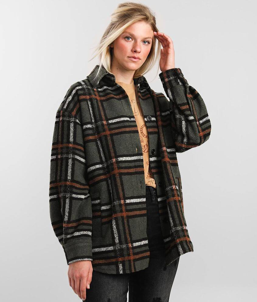 BKE Plaid Flannel Jacket front view