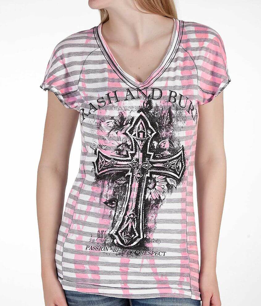 Crash & Burn Celtic Cross T-Shirt front view