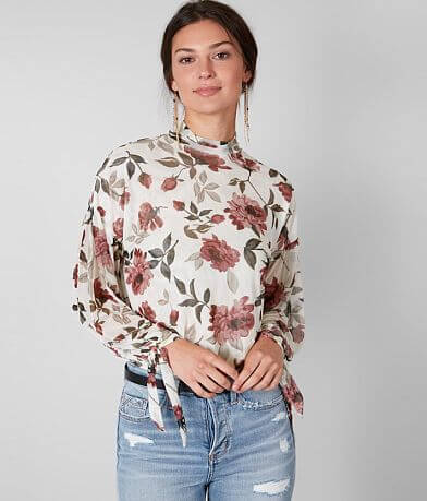 Buckle Black Floral Mesh Mock Neck Top