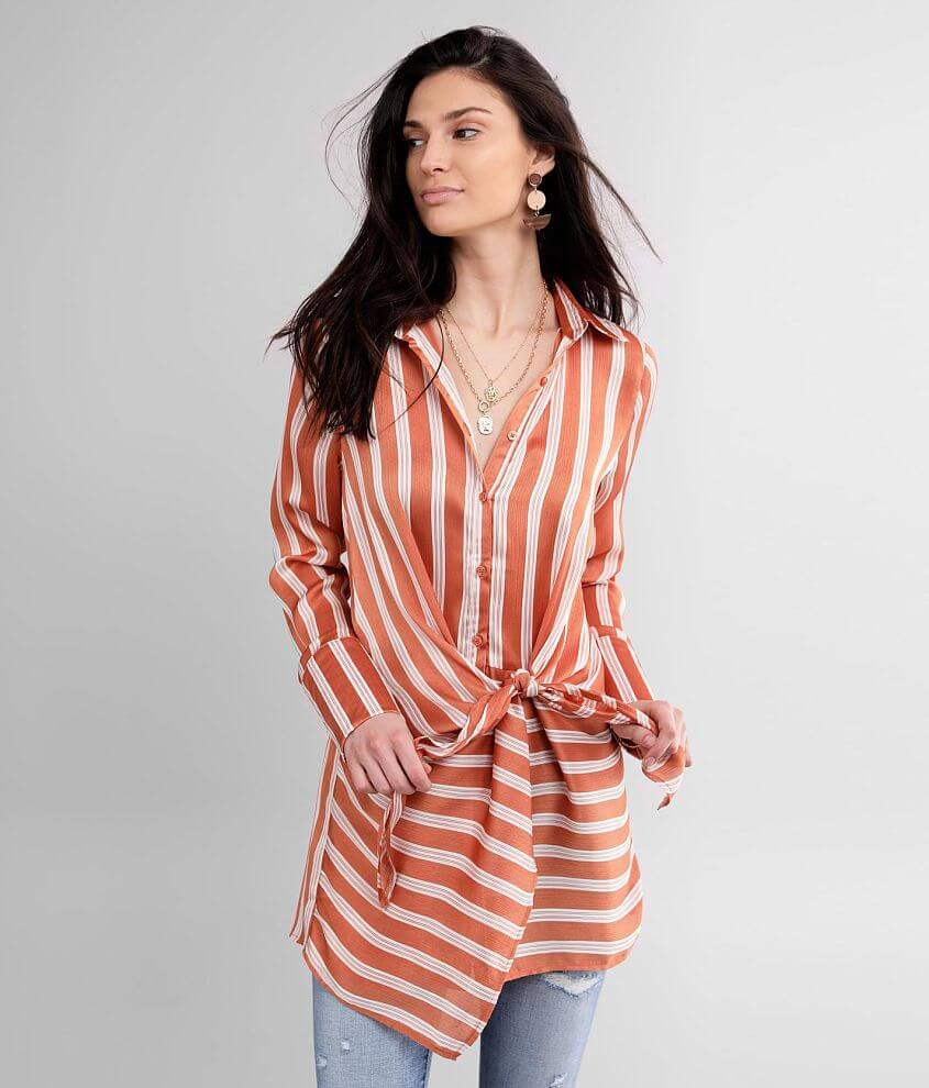 Buckle Black Striped Chiffon Tunic Top front view