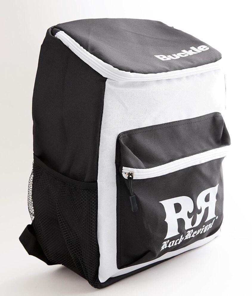 Graphic color block insulated backpack Zipper closures Side mesh pocket Padded adjustable shoulder straps Dimensions: 11\\\