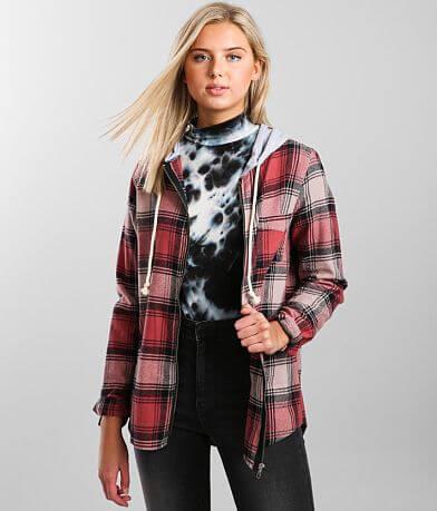 BKE Hooded Flannel Shacket