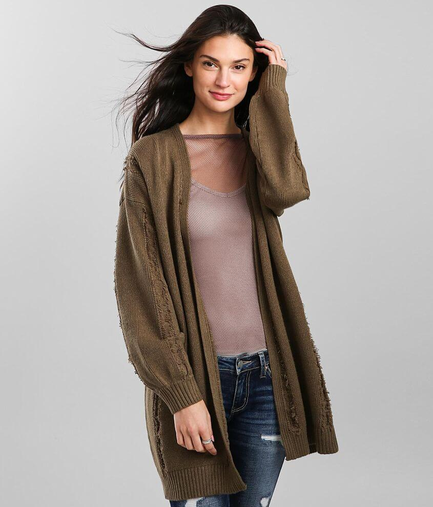 BKE Frayed Seam Cardigan Sweater front view