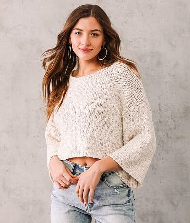 Willow & Root Open Weave Cropped Sweater