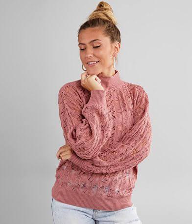 Daytrip Open Weave Mock Neck Sweater