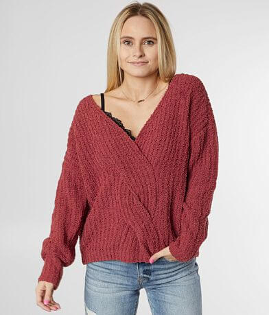 Daytrip Twisted Surplice Chenille Sweater