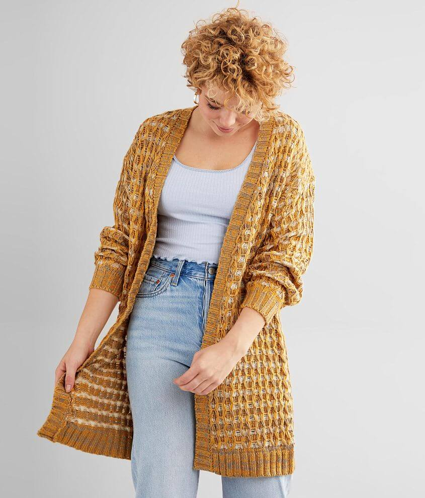 Willow & Root Waffle Stitch Cardigan Sweater front view