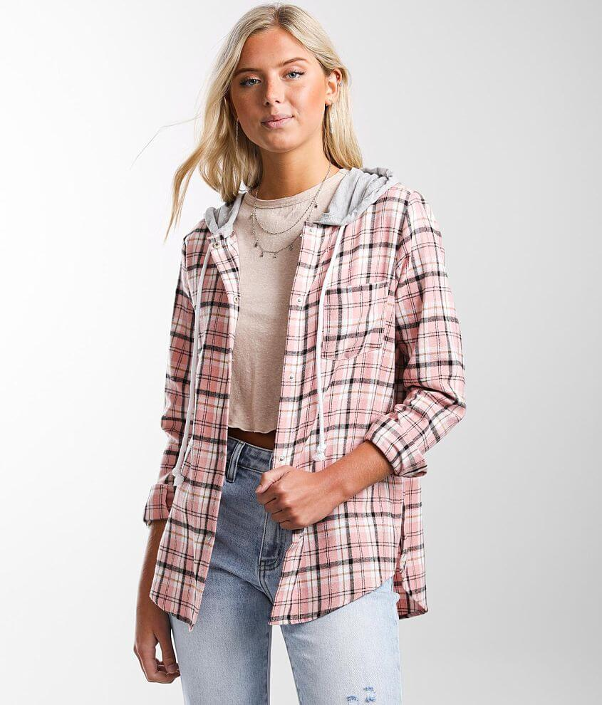 BKE Hooded Flannel Plaid Shirt front view