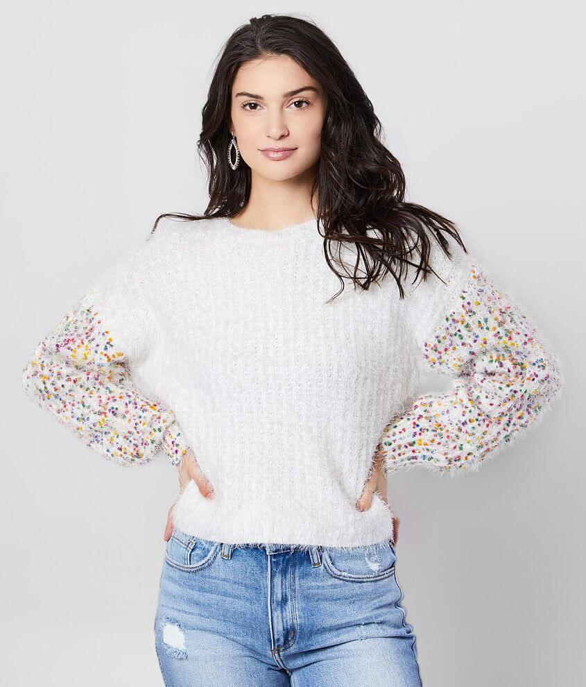 Absolutely Creative Worldwide Eyelash Knit Sweater front view