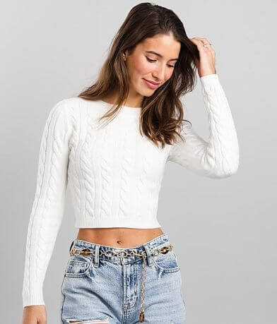 FITZ + EDDI Cable Knit Cropped Sweater