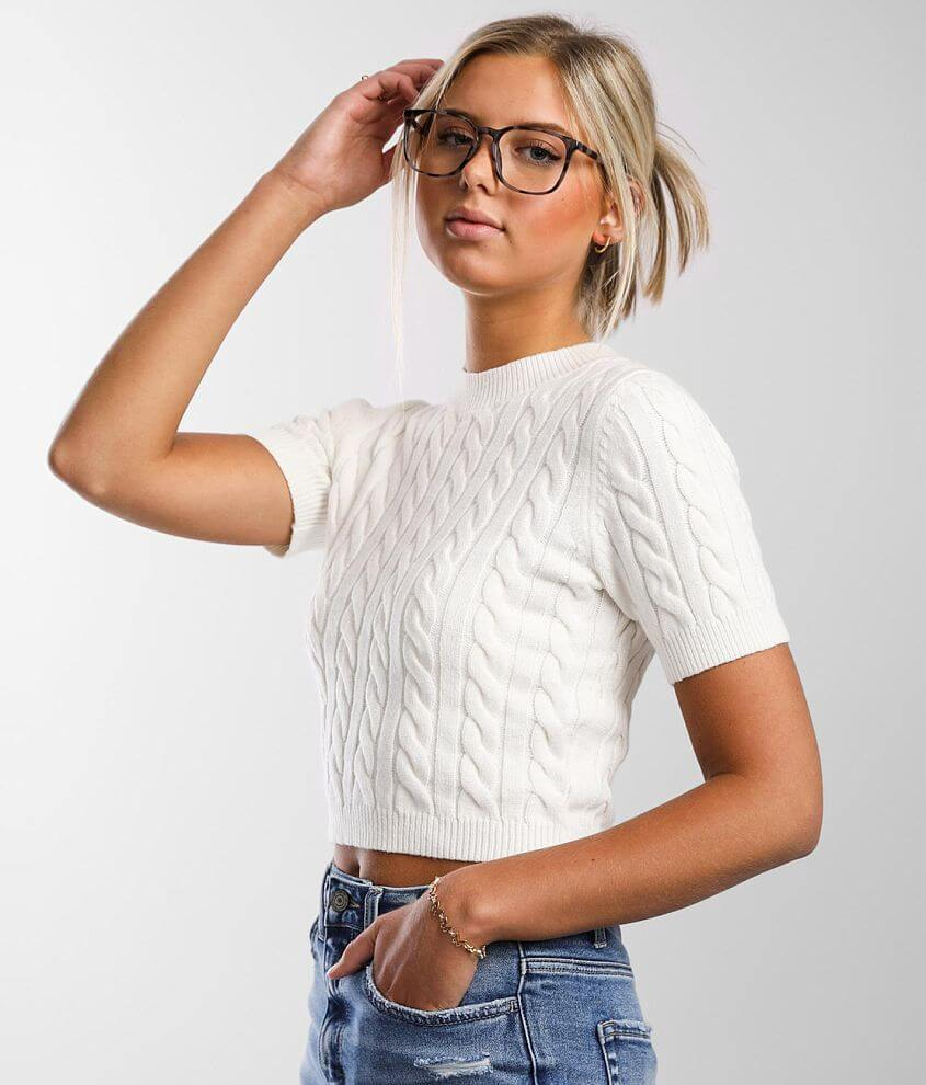 FITZ + EDDI Cable Knit Cropped Sweater front view