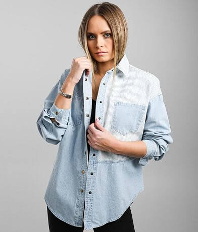 Gilded Intent Pieced Chambray Shirt