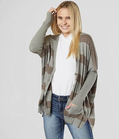 BKE Oversized Dolman Button Down Cardigan Sweater