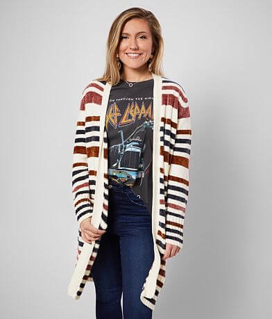 BKE Striped Chenille Cardigan Sweater