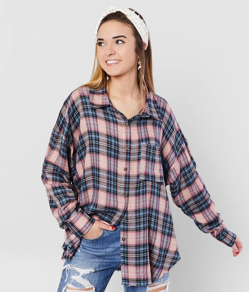 BKE Woven Plaid Shirt front view