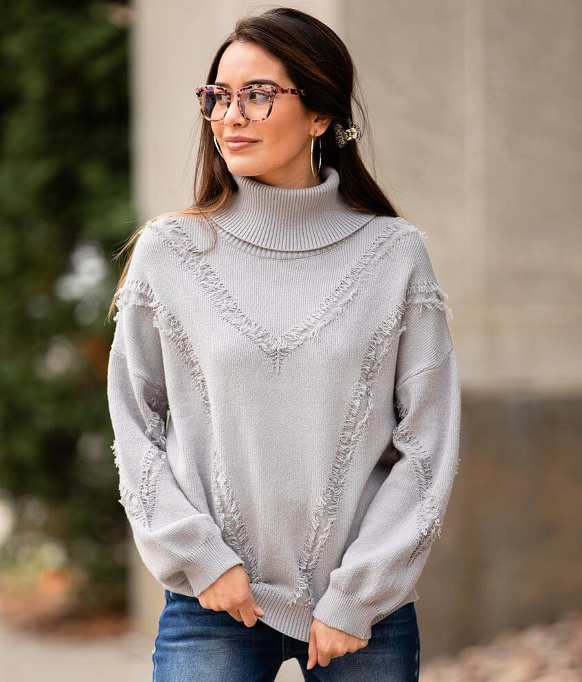 Willow & Root Fringe Turtleneck Sweater front view