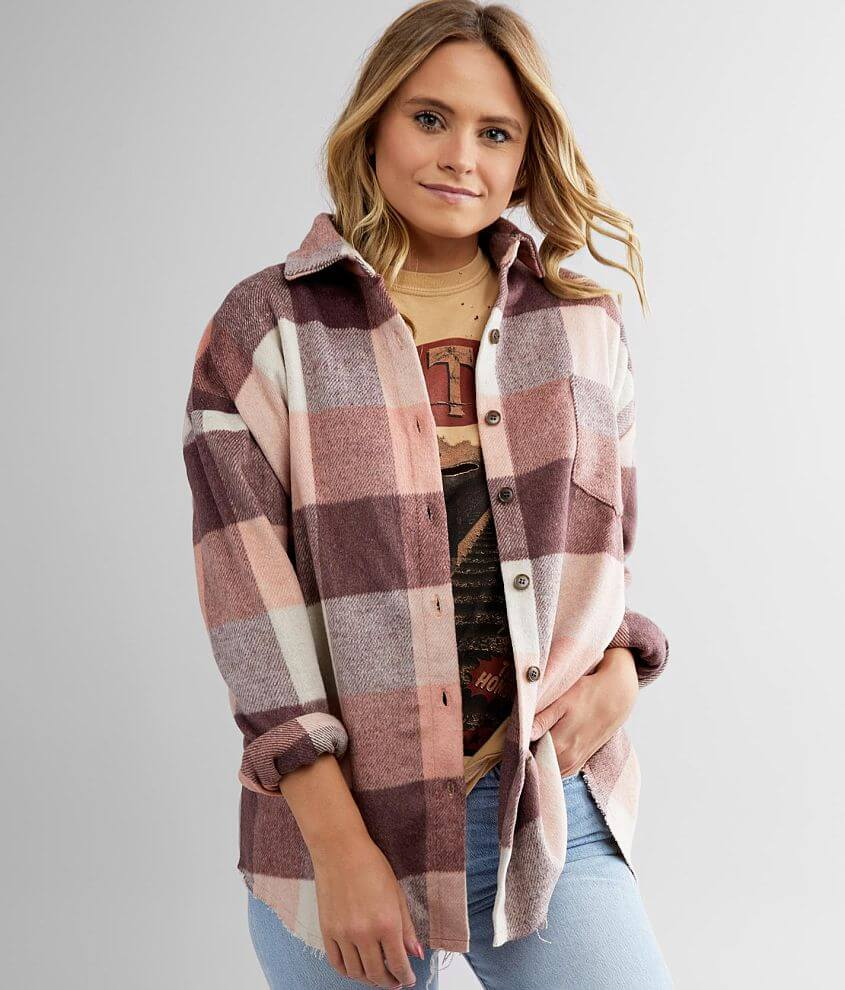 BKE Checkered Plaid Brushed Knit Shacket front view