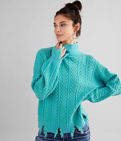 BKE Distressed Turtleneck Sweater