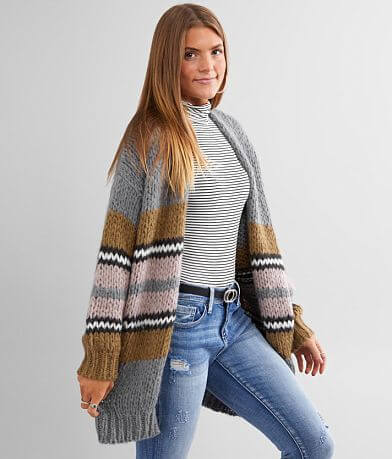 BKE Chunky Knit Pointelle Stitch Cardigan Sweater