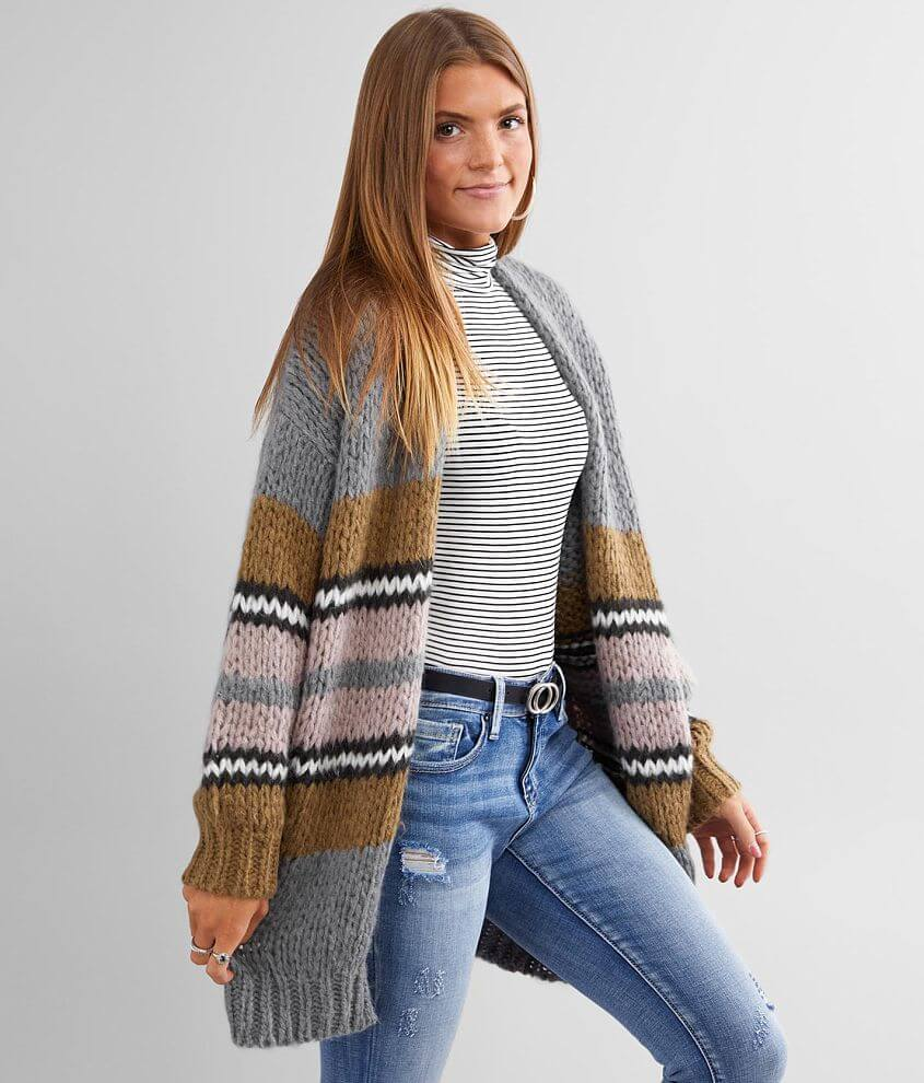 BKE Chunky Knit Pointelle Stitch Cardigan Sweater front view